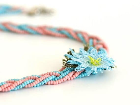 Bohemian Jewelry/ Braided Necklace/ Crochet Lace Necklace/ Lace Flower Oya/ Powder Pink Mint/ Cottage Style/ Fiber Art