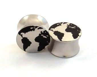 """Globe 316L Surgical Steel Plugs - Double Flared - 2g 0g 00g 7/16"""" (11 mm) 1/2"""" (13mm) 9/16"""" (14mm) 5/8"""" (16mm) Earth World Metal Ear Gauges"""
