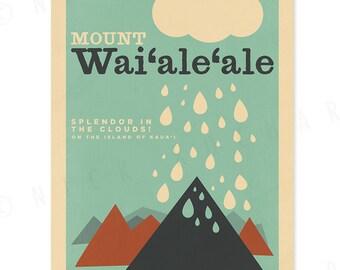 Mount Waialeale, Kauai - 12 x 18 Retro Hawaii Print