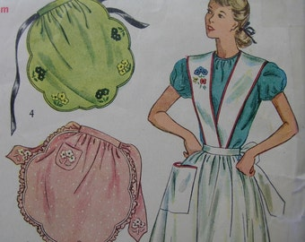 Fabulous Vintage 40's Misses' TEA Or SUSPENDER APRON Pattern Mostly Uncut