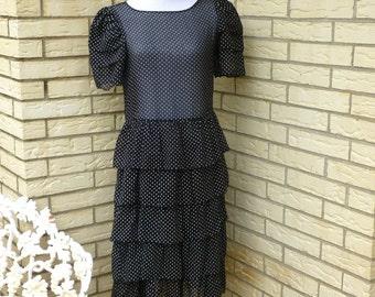 1980's Polka Dot Dress Sheer Tiered Ruffles Black White Womens VintageMedium