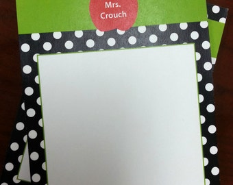 Personalized Teacher Notepads | Set of TWO | Teacher Notepads Black Polka Dots