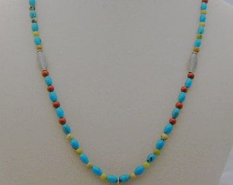 Turquoise, red jasper, yellow turquoise and sterling silver necklace CHARITY DONATION