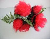 Mod Red & Black Flower, floral arrangement, Kitsch, Eames era.  Little shop of Horrors Decor. Vintage 1970.