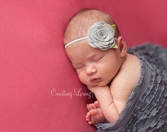 Light Grey Wool Felt Rose Headband - Newborn Baby Photoprop - Infant - Toddler - Adult