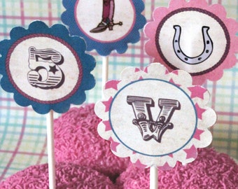 Cowgirl Party Circles/Cupcake Toppers - INSTANT DOWNLOAD - Editable & Printable Birthday Decorations  by Sassaby