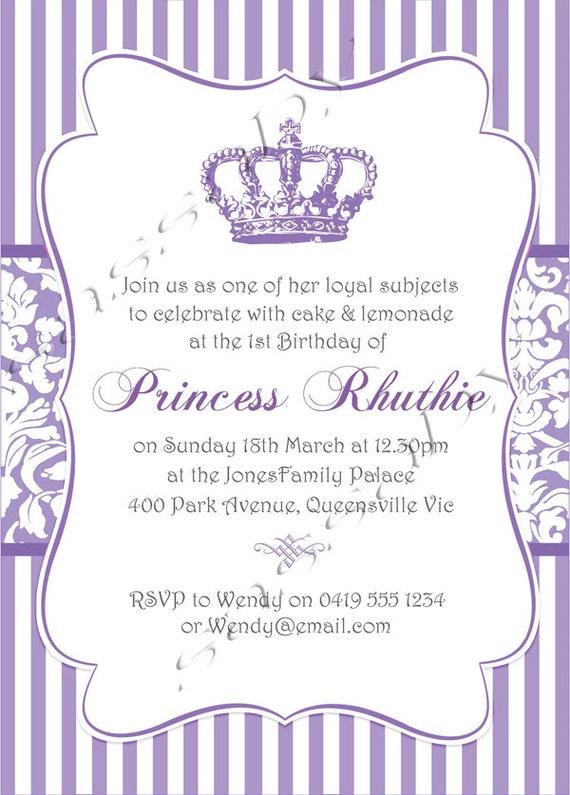 Princess Purple Party Invitation INSTANT DOWNLOAD Editable – Purple Party Invitations
