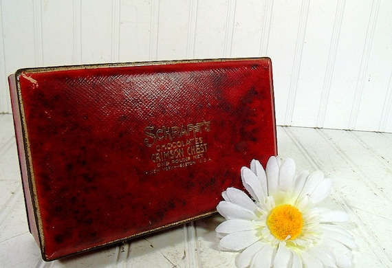 Vintage Schraffts Chocolates Crimson Red Candy Chest - Antique Dark Red Leather Textured Candy Tin Gold Embossed Ruby Covered Deep Metal Box