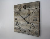 Large Rustic Wall Clock. Gray Washed. Color Washed.  Raw Wood.  Repurposed Wood.