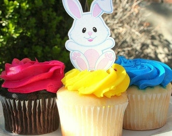 Easter Bunny Cupcake Toppers Set of 12- READY TO SHIP
