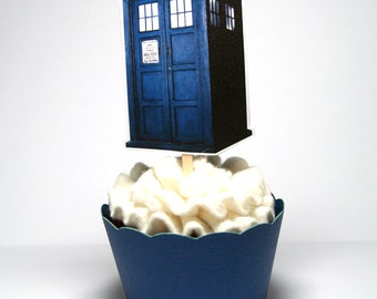 TARDIS Dr. Who Cupcake Toppers Set of 12