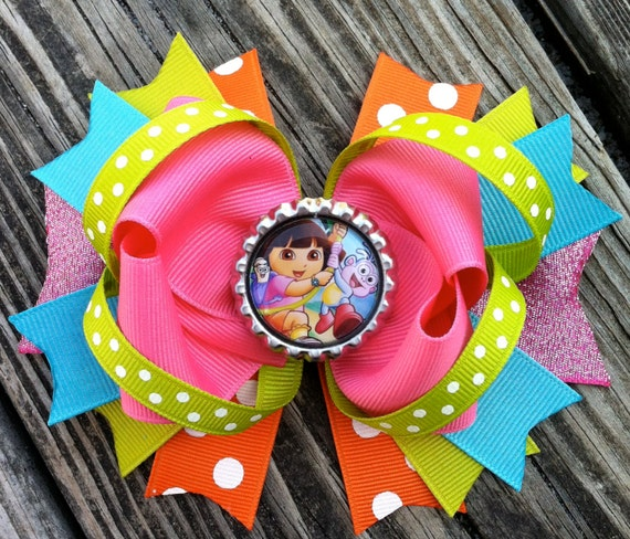 the EXPLORER Hair Bow Boutique Style Dora and Boot Bottle Cap Hair Bow ...