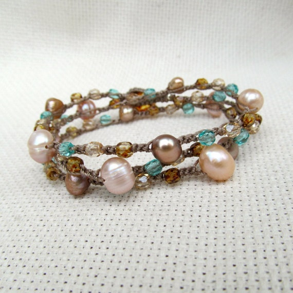"Bohemian Crochet Wrap Bracelet, Necklace ""Ocean Sprite"", beach glass colors and freshwater pearls"