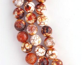 14mm Round Faceted HARVEST ORANGE AGATE Gemstone Beads, half strand, 14 beads gag0025