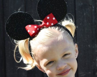 GLITTER MINNIE MOUSE Ears Headband - Birthday/Halloween Costume - Photo Prop/Party Favor