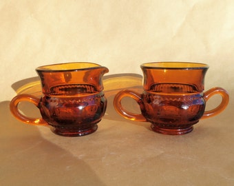 VINTAGE Indiana Glass Amber Cream and Sugar  - King's Crown or Thumbprint , 1960's