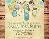 Mason Jars Invitation,Vintage Bridal Shower Invitation,Wedding Shower,Mason Jars, Branches, Turquoise, Brown, 5223