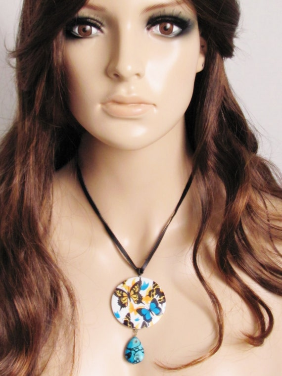 Butterfly Necklace Retro Necklace Turquoise Necklace Women Jewelry Gift Yellow Necklace Vintage Necklace Black Leather Necklace
