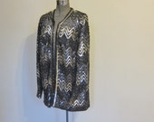 Reserved for S Jacobs SEQUIN jacket   70s HERRINGBONE  black SILVER grey m-l