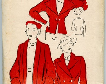 1930's Coat Pattern New York Pattern 604 Ladies' and Misses' Jackets and Coat Vintage Sewing Pattern Bust 32
