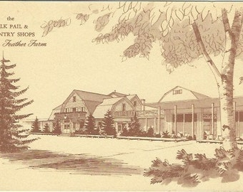 Vintage Postcard The Milk Pail and Country Shops at Fin 'n Feather Farm
