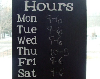 Chalkboard Hours Sign  - Reclaimed Wood