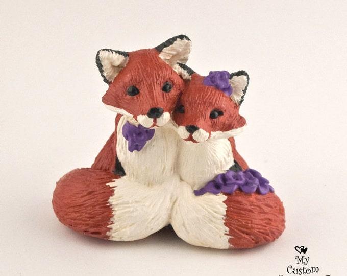 Fox in Love Wedding Cake Topper