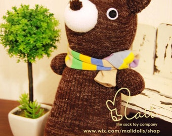 "Mali Sock Doll, Sock Bear, Newborn Safe Brown Teddy Bear Baby, ""Johnny"""