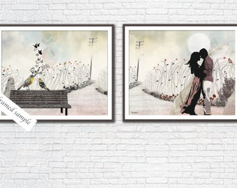 Love birds art, Love couple paintings, Love art collection, 8x10 art print