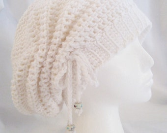 Crochet hat cinched slouchy in bright white made to fit teens and adults