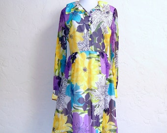 Vintage 60s Mod Floaty Chiffon Giant Flowers Floral Dress