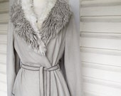 1970s Boho Faux Fur Collar Wrap Coat Gray Swing Coat
