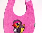Goth rubber duck embroidered baby feeding bib.