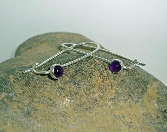 Purple Amethyst Earring, February Birthstone Earrings, Silver Earring, Amethyst Jewelry, Simple Delicate Earrings, Silver Birthstone Dangles