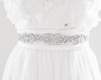 KELLY - Beaded Rhinestone Bridal Belt, Wedding Sash