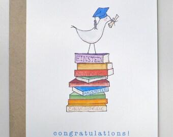 Graduation card with bird on big books