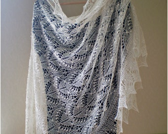 Hand knitted wedding shawl, Queen Silvia cobweb lace stole, traditional Estonian lace, Haapsalu shawl MADE TO ORDER