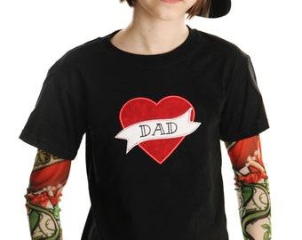Tattoo Sleeve T shirt with Mom or Dad heart applique for Boys and Girls