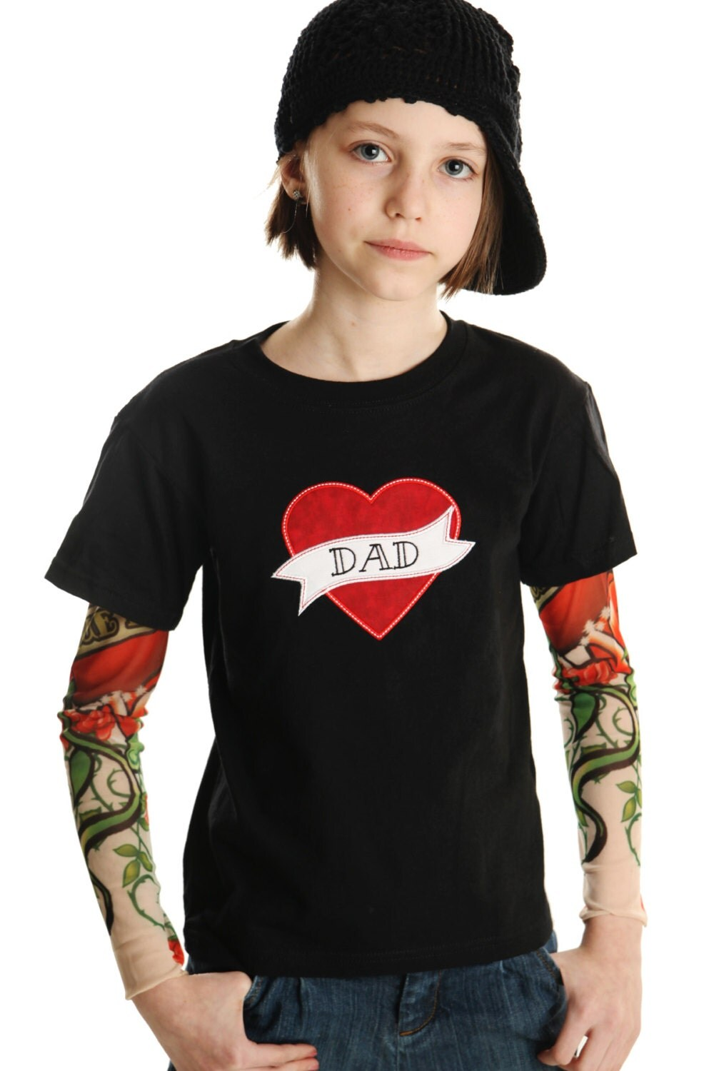 Shirt Sleeve Tattoo: Tattoo Sleeve T Shirt With Mom Or Dad Heart Applique For Boys