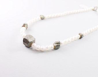 Rough pyrite necklace, pearl jewelry, rough stone necklace, raw gemstone jewelry, white pearl necklace raw crystal necklace raw stone choker