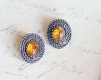 Amber Clip on Earrings