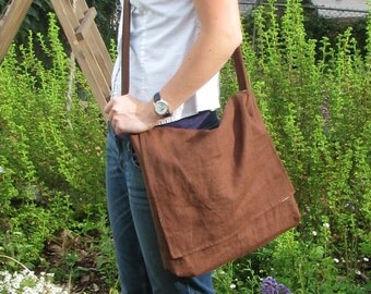 Brown Linen Messenger Bag - Cotton Floral Print Interior