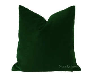 18x18 Hunter Green Cotton Velvet Decorative Throw Pillow Cover- Invisible Zipper Closure- - Knife Or Pipping Edge