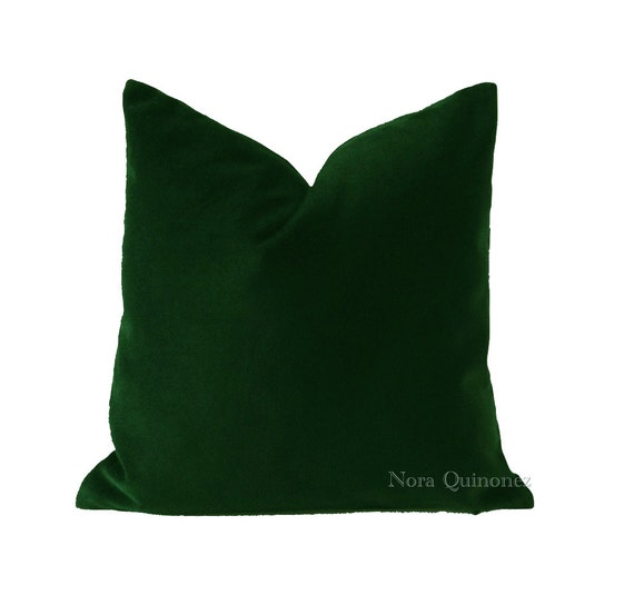 Hunter Green Cotton Velvet Decorative Throw Pillow Cover- Invisible Zipper Closure- - Knife Or Piping Edge