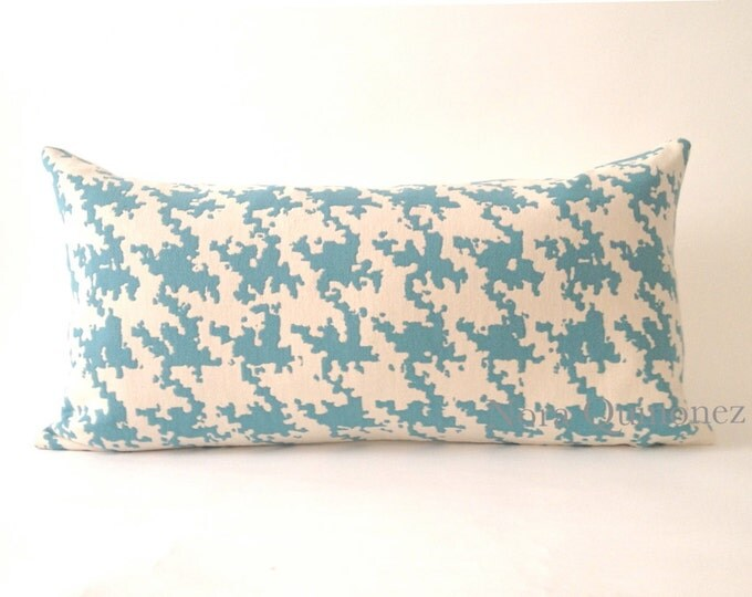 10x20 Teal Blue and White Houndstooth Decorative Bolster Pillow Cover  -Medium Weight Cotton- Invisible Zipper Closure- Cushion Cover