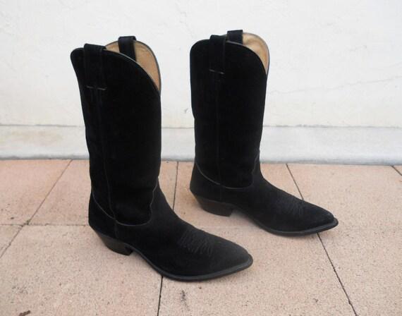 vintage black suede nacona western boots sz by