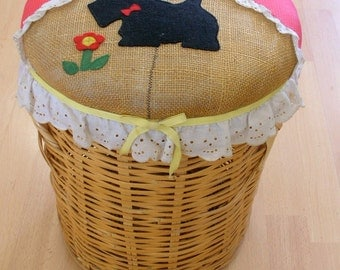 Knitting Basket Wicker Knitting Basket Lidded with Scottie Dog Applique OOAK TALL Yarn Storage Container from The Back Part of the Basement