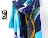 Hand Painted Silk Shawl Scarf, Blue Hawaii Silk Shawl, Blue Silk Shawl. Silk Crepe. French Silk Dye. 43x74 in.