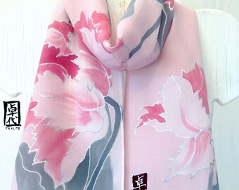 Hand painted silk scarf Pink and Gray Tulips. Pink Silk Scarf, Japanese Scarf. Silk Crepe. 8x54 in. Made to order.
