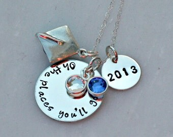 Personalized Oh The Places You'll Go Graduation Necklace - Hand Stamped Jewelry - Class of 2016 - Graduation Gift